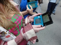 Yoshinori Ono Sharing his me with fans at the London St Pancras 3DS StreetPass Event (1)
