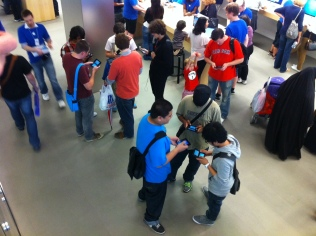 There's a participant wearing blue. Perhaps he's an Apple employee on break.