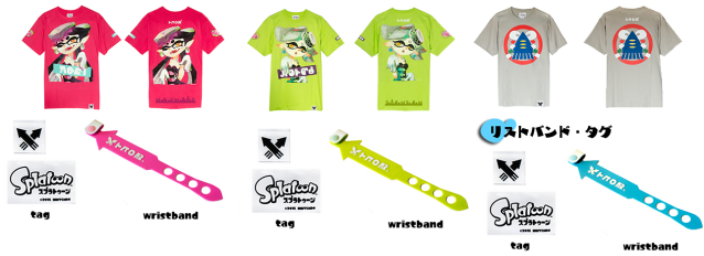 SplatFest Themed Tees, Callie, Marie & a blank one respectively (with swanky wristbands)